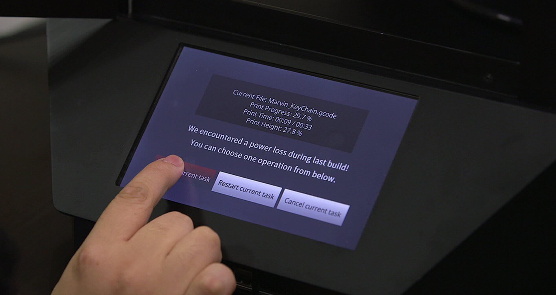 Raise3D Pro2: Touchscreen